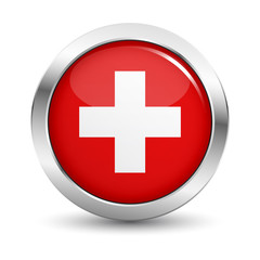 Swiss Flag Icon Badge Vector Button