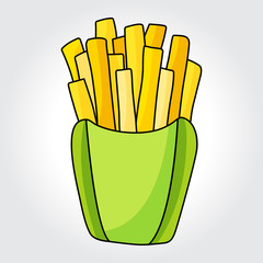 French fries in paper box vector icon. Colorful template for you design, web and mobile applications.