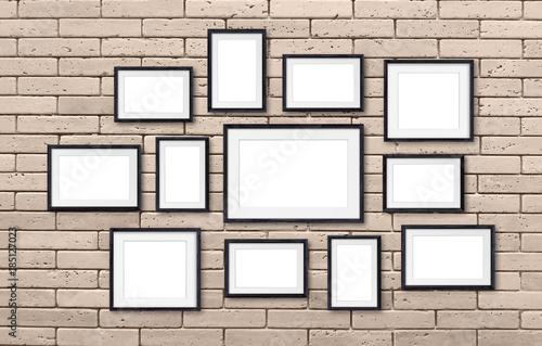 Photo frames collage, twelve set collection on bricks wall, interior ...