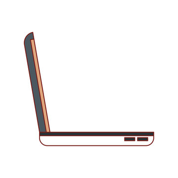 laptop computer side view in colorful silhouette