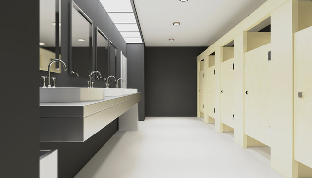 Clean public toilet room empty with wooden partition. 3D rendering.