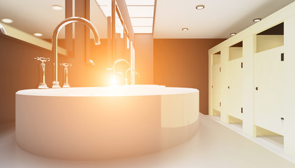 Wash basins in the public restroom. 3D rendering. Sunset