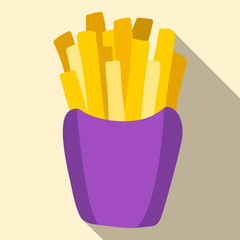 French fries in paper box vector icon. Can be used for textile, website background, book cover, packaging.