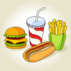 Fast food set. Hamburger, french fries, hot dog and soft drink in cup with straw. .Vector illustration for your cute design.