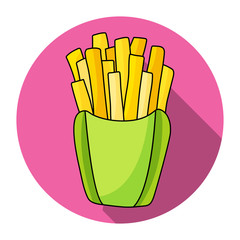 French fries in paper box vector icon. Beautiful vector design.