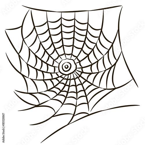 Halloween Black Spider Web Isolated On White Background