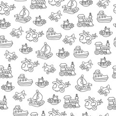 Seamless pattern with childrens toys. Endless texture for wallpaper, fill,  web page background, surface texture.
