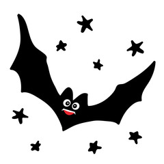 Bat in the night sky. Beautiful vector design.