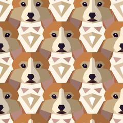 Seamless polygonal pattern with welsh corgi head.