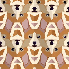 Seamless polygonal pattern with welsh corgi head. Texture for wallpaper, fills, web page background.