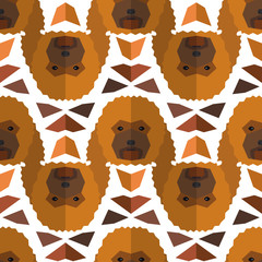 Seamless polygonal pattern with poodle head.