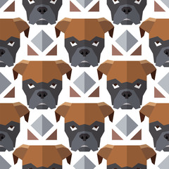 Seamless polygonal pattern with bulldog head. Texture for wallpaper, fills, web page background.