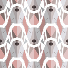 Seamless polygonal pattern with bullterrier head. Texture for wallpaper, fills, web page background.