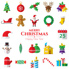 Set of christmas icons on white background  in vector illustration. Icon of bell, stocking, christmas tree, reindeer, present, Santa Claus, snowman. Template for internet and business.