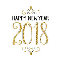 HAPPY NEW YEAR 2018 hand lettered card in gold and black