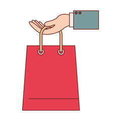 hand holding a trapezoid shopping bag in colorful silhouette