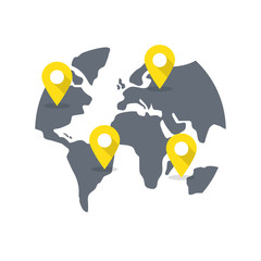 World map with destination pins.