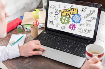 Business plan concept on a laptop screen