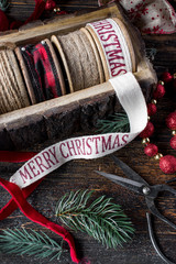 Christmas wrapping and Merry Christmas ribbons workshop