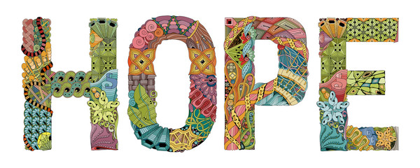 Word HOPE for coloring. Vector decorative zentangle object Wall mural