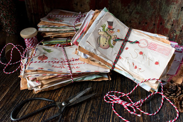 stacks of Christmas letters to Santa from children