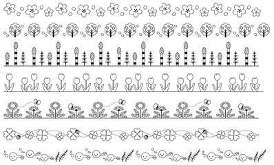 春の飾り線 白黒