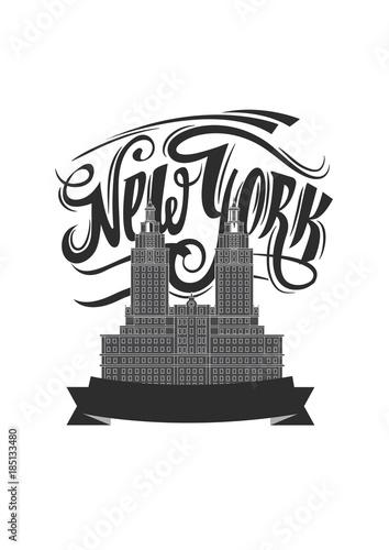new york city ny logo isolated nyc label or logotype vintage
