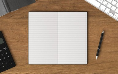 blank note book with office supplies on wood office desk. top view. Business and education concept.