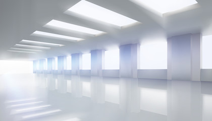 Empty hall with the windows. Vector illustration.