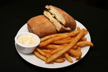 Chicken sandwich and fries.