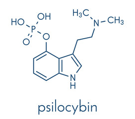 Psilocybin psychedelic mushroom molecule. Prodrug of psilocin. Skeletal formula.