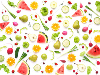 Fototapete - Pattern of vegetables and fruits. Abstract food background, top view, flat lay. Composition of pears, watermelon, peppers, apples, radishes and oranges isolated on a white background. Healthy eating.