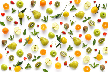 Pattern of  fruits. Abstract food background, top view, flat lay. Composition of pears, apples, mint leaves, kiwi, tangerines and oranges isolated on a white background. Healthy eating.