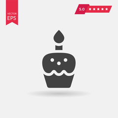 Easter cake icon in trendy flat style isolated on grey backgroun