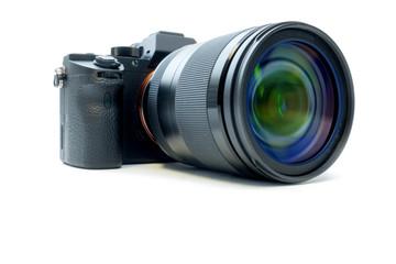 digital mirrorless photo camera with zoom lenses