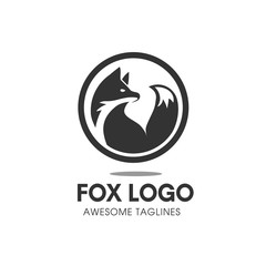 Fox circle Vector Symbol, fox Sign or Logo Template. creative fox Animal Face Modern Simple Design Concept. Isolated.