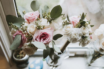 High angle view of flowers in vase on window sill at home