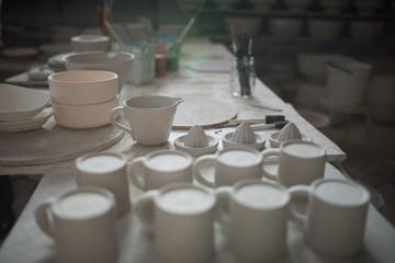Pottery equipment on worktop