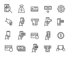 Simple collection of mobile commerce related line icons.