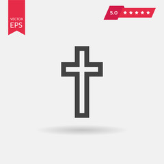 Religion Cross Icon in flat style isolated on grey background. V