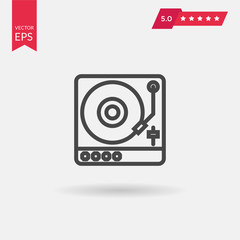 Vinyl player icon vector. Turntable sign Isolated on white backg