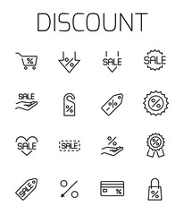 Discount related vector icon set.