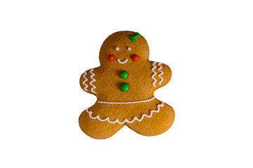 Christmas gingerbread girl isolated on a white background