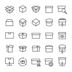 Set of 25 box thin line icons.