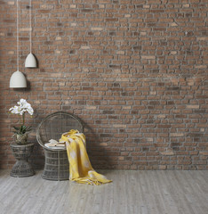 modern natural wallpaper with wicker chair and vase of flowers, modern lamp