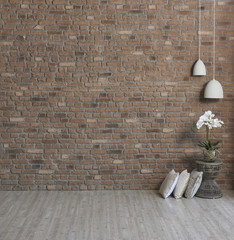 modern interior style home object and brick wallpaper