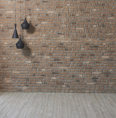 decorative brick wall background and lamp style