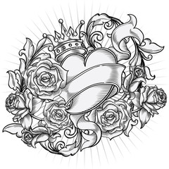 Monochrome Heart and Roses emblem