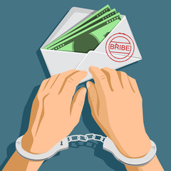 Bribery. Envelope with dollar banknotes. Man in handcuffs