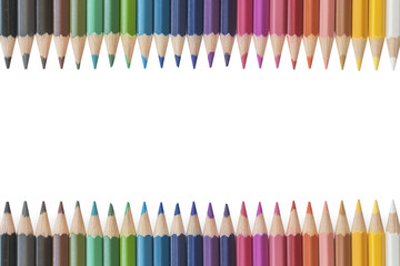 Close up of colorful colored pencil set isolated on white background.